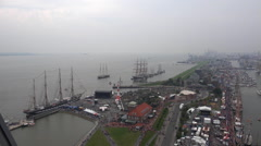 Bremerhaven harbor aerial view while Sail exhibition Stock Footage