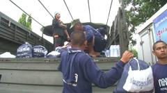 Relief Workers Emergency Food Water Disaster Flood Refugees Bangkok 2011 9623 Stock Footage