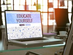 Educate Yourself - Concept on Laptop Screen - stock illustration