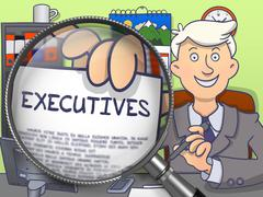Executives through Lens. Doodle Style - stock illustration