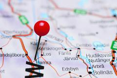 Hamra pinned on a map of Sweden Stock Photos