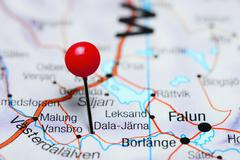 Dala-Jarna pinned on a map of Sweden Stock Photos