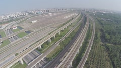 Aerial Drone Maglev Train Passing Stock Footage