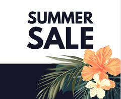 Summer tropical hawaiian background with palm tree leaves and exotic flowers - stock illustration