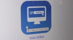 CU of user moving a cursor and click online Voting icon on a desktop computer - stock footage