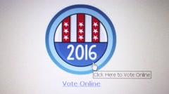 Camera dolly left to CU of computer monitor with 2016 USA online voting logo Stock Footage