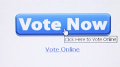 Macro CU camera dolly left to settle on 'Vote Now' online button Stock Footage