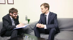 Crazy Manager interviewing a male applicant in his office Stock Footage