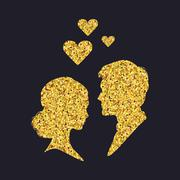 Gold silhouettes of a man and a woman - stock illustration