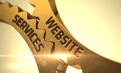 Website Services Concept. Golden Metallic Cog Gears - stock illustration
