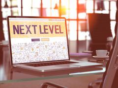 Next Level Concept on Laptop Screen Stock Illustration