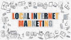 Local Internet Marketing Concept. Multicolor on White Brickwall - stock illustration