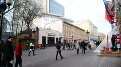 Moscow, Russia - February 21.2016. Old Arbat- pedestrian street in  center Stock Footage
