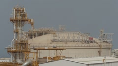 Roof Of The Tankers At LNG Plant Stock Footage