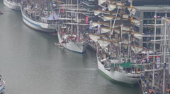 Bremerhaven harbor aerial view zoom out tall ships Sail exhibition Stock Footage