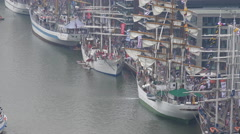 4k Bremerhaven harbor aerial view zoom out tall ships Sail exhibition Stock Footage