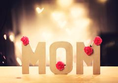 Mom letter blocks with pink carnation flowers - stock photo