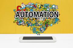 Automation concept with smartphone Stock Illustration
