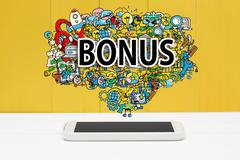 Bonus concept with smartphone - stock illustration
