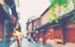 Abstract blurred tourists visit Kyoto Japan Stock Photos