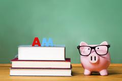 Master of Arts Degree theme with pink piggy bank - stock photo
