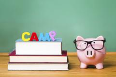 Educational summer camp theme with pink piggy bank - stock photo