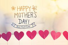 Happy Mothers Day message with small red hearts Stock Photos