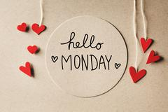 Hello Monday message with small hearts Stock Photos