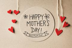 Happy Mothers Day message with small hearts Stock Photos