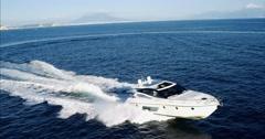 Aerial view Luxury motor yacht in navigation, motoryacht, Stock Footage