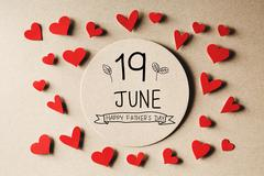 19 June Happy Fathers Day message with small hearts Stock Photos