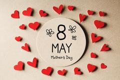 8 May Mothers Day message with small hearts Stock Photos
