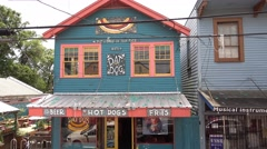 Beautiful Hot Dog restaurant at Magazine Street in New Orleans Stock Footage