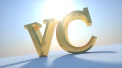 Venture capital initials with the sun rising and falling Stock Footage