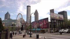 Atlanta Downtown skyline with Skyview Ferris Wheel Stock Footage