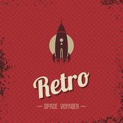 retro space rocket template theme - stock illustration