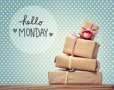 Hello Monday message with gift boxes - stock photo