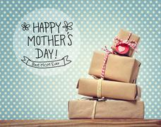 Mothers Day message with gift boxes Stock Photos