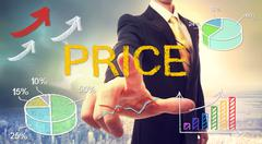 Price concept with businessman Stock Photos
