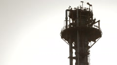 LNG Tower In Industrial Plant Stock Footage
