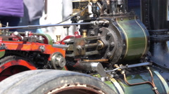 Close up of small working steam engine Stock Footage