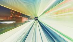 High speed technology concept via a Tokyo monorail - stock photo