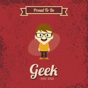 Genius geek retro cartoon Stock Illustration