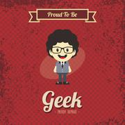 genius geek retro cartoon - stock illustration