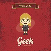 genius geek retro cartoon - stock illustration