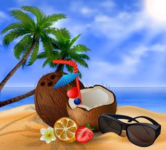 Exotic coconut cocktail - stock illustration