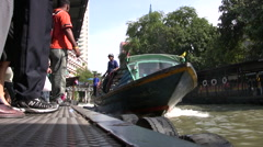 Canal Boat Klong Public Riverboat Taxi Tourist Attraction Bangkok Travel 9595 Stock Footage