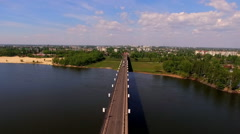 The bridge across the Dnieper River. Stock Footage