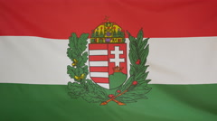 Hungary coat of arms Flag real fabric Close up 4K Stock Footage