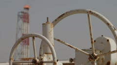 Valves And Burning Gas Flare Tower Stock Footage
